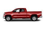 Car driver side profile view of a 2018 Toyota Tundra SR5 5.7L Double Cab Long Bed 4 Door Pick Up