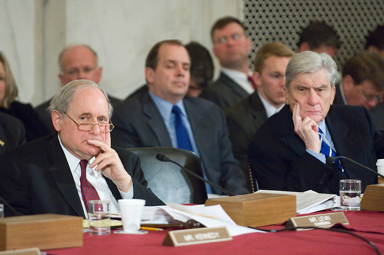 02/01/07--Chairman Carl Levin, D-Mich., and Sen. John W. Warner, R-Va., during the Senate Armed Services confirmation hearing on the nomination of Gen. George W. Casey Jr.  to be reappointed to the grade of general and to be chief of staff of the Army. Casey, who served as commander of U.S. forces in Iraq since 2004,came under pointed criticism Thursday from senators of both parties. But he is still expected to win confirmation to be Army chief of staff. Key members of the Senate Armed Services Committee complained that Casey oversaw a flawed military strategy. In particular, they charged he had repeatedly painted overly optimistic scenarios of U.S. progress in Iraq. ÒWhile I donÕt in any way question your honor, your patriotism or your service to our country, I do question some of the decisions, the judgments youÕve made over the past two and a half years,Ó said Sen. John McCain of Arizona, the top Republican on the panel. ÒDuring that time things have gotten markedly and progressively worse.Ó McCain has repeatedly called for more U.S. troops in Iraq, something Casey resisted. However, Chairman Carl Levin, D-Mich., and other committee Democrats said Casey should not be made the scapegoat for a failed Iraq policy. Responsibility rests with the president and other top civilian leaders, they said. Congressional Quarterly Photo by Scott J. Ferrell