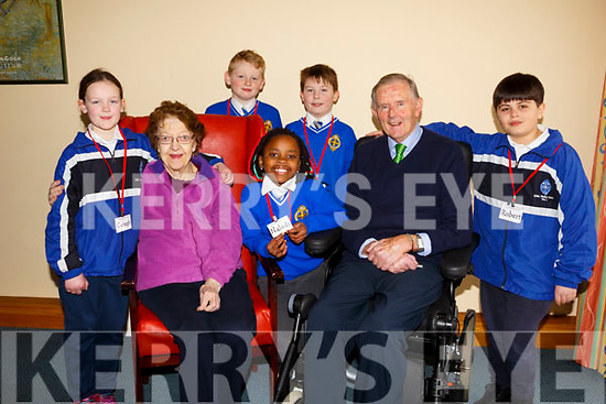 "Students from CBS Primary school's ""The Seanóige Club"", visit the Fatima Nursing Home on a weekly basis to engage in a range of activities with the residents. L-r, Caragh McGillicuddy, Rose Sheehy, Jack O'Mahoney,  Jaden Ward Barrett, Malidi Hlongwane, Pat Crean and Robert Mustafa."