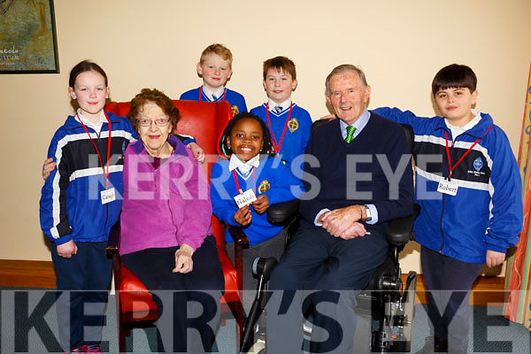 """Students from CBS Primary school's """"The Seanóige Club"""", visit the Fatima Nursing Home on a weekly basis to engage in a range of activities with the residents. L-r, Caragh McGillicuddy, Rose Sheehy, Jack O'Mahoney,  Jaden Ward Barrett, Malidi Hlongwane, Pat Crean and Robert Mustafa."""