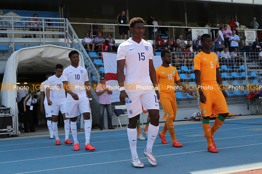 Kortney Hause of England walks out onto the pitch for the match against Ivory Coast - Ivory Coast Under-20 vs England Under-20 -2015 Toulon Tournament Football at Stade Leo Lagrange, Toulon, France - 30/05/15 - MANDATORY CREDIT: Paul Dennis/TGSPHOTO - Self billing applies where appropriate - contact@tgsphoto.co.uk - NO UNPAID USE