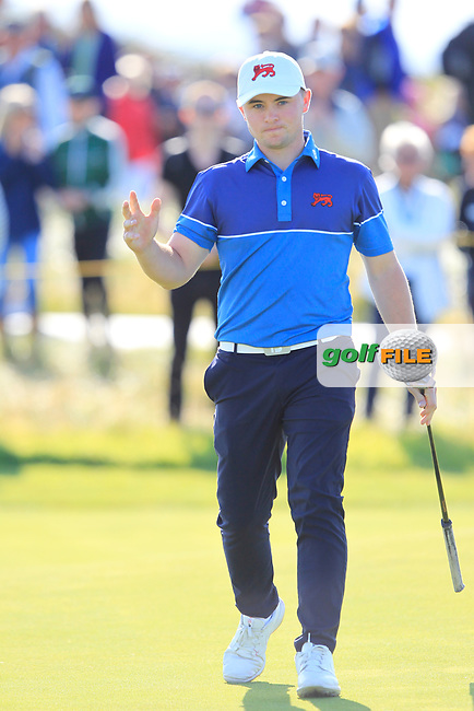 Alex Fitzpatrick (GB&I) on the 15th during Day 1 Singles of the Walker Cup at Royal Liverpool Golf CLub, Hoylake, Cheshire, England. 07/09/2019.<br /> Picture: Thos Caffrey / Golffile.ie<br /> <br /> All photo usage must carry mandatory copyright credit (© Golffile | Thos Caffrey)