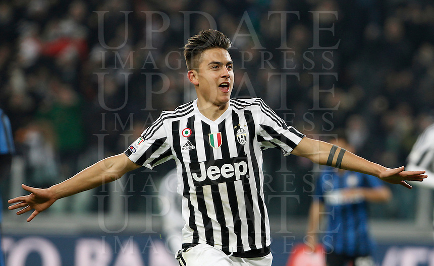 Calcio, semifinali di andata di Coppa Italia: Juventus vs Inter. Torino, Juventus Stadium, 27 gennaio 2016.<br /> Juventus&rsquo; Paulo Dybala celebrates after scoring during the Italian Cup semifinal first leg football match between Juventus and FC Inter at Juventus stadium, 27 January 2016.<br /> UPDATE IMAGES PRESS/Isabella Bonotto