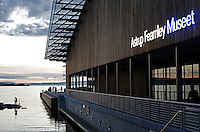 Newly Astrup Fearnley Museum flats at Aker Brygge, by the waterfront in central Oslo.