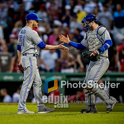22 June 2019: Toronto Blue Jays pitcher Ken Giles gets a hand from catcher Danny Jansen after closing out the game against the Boston Red Sox at Fenway :Park in Boston, MA. The Blue Jays rallied to defeat the Red Sox 8-7 in the 2nd game of their 3-game series. Mandatory Credit: Ed Wolfstein Photo *** RAW (NEF) Image File Available ***