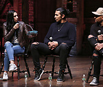 """Lauren Boyd, Anthony Lee Medina, Terrance Spencer  during the eduHAM Q & A before The Rockefeller Foundation and The Gilder Lehrman Institute of American History sponsored High School student #EduHam matinee performance of """"Hamilton"""" at the Richard Rodgers Theatre on October 30, 2019 in New York City."""