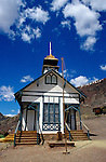 Calico Ghost Town with old historic school house in mining town Barstow California USA.
