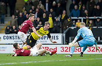 5th January 2020; Pirelli Stadium, Burton Upon Trent, Staffordshire, England; English FA Cup Football, Burton Albion versus Northampton Town; David Templeton of Burton Albion gets tackled by Scott Wharton of Northampton Town  - Strictly Editorial Use Only. No use with unauthorized audio, video, data, fixture lists, club/league logos or 'live' services. Online in-match use limited to 120 images, no video emulation. No use in betting, games or single club/league/player publications