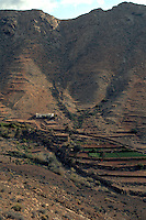 Canarian cottage and farmland on hillsides of Fuerteventura countryside, May 2007