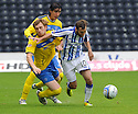KILMARNOCK'S JAMES DAYTON HOLDS OFF ST JOHNSTONE'S LIAM CRAIG