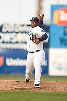 Everett AquaSox starting pitcher Victor Sanchez #48 during a game against the Spokane Indians at Everett Memorial Stadium on June 20, 2012 in Everett, WA.  Everett defeated Spokane 9-8 in 13 innings.  (Ronnie Allen/Four Seam Images)