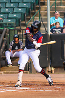 Jackson Generals shortstop Jazz Chisholm (3) swings at a pitch during a Southern League game against the Biloxi Shuckers on June 14, 2019 at The Ballpark at Jackson in Jackson, Tennessee. Jackson defeated Biloxi 4-3. (Brad Krause/Four Seam Images)