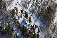 Aerial of sled dog teams coming into Cripple Chkpt 1/2 way point 2006 Iditarod Interior Alaska Winter