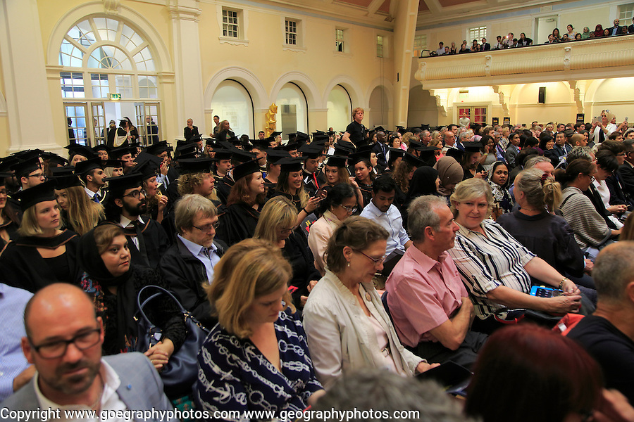 Audience at graduation ceremony, Goldsmiths College, University of London, England, UK