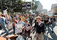 Occidental College students, foreground, participate in a climate change rally in downtown Los Angeles, February 17, 2013. (Photo by Marc Campos, Occidental College Staff Photographer)<br /> <br /> For Media Use gallery:<br /> Download password: oxyphotos<br /> <br /> For additional sizes, other photos or more information, contact:<br /> Marc Campos, Occidental College Photographer<br /> mcampos@oxy.edu<br /> (323)259-1415
