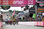 Enrico Battaglin (ITA) Team Lotto NL-Jumbo outsprints Giovanni Visconti (ITA) Bahrain-Merida to win Stage 5 of the 2018 Giro d'Italia, running 153km from Agrigento to Santa Ninfa (Valle del Belice), Sicily, Italy. 9th May 2018.<br /> Picture: LaPresse/Marco Alpozzi | Cyclefile<br /> <br /> <br /> All photos usage must carry mandatory copyright credit (&copy; Cyclefile | LaPresse/Marco Alpozzi)