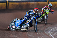 Heat 2 Mateusz Szczepaniak of Poole Pirates leads Jye Etheridge of Belle Vue Aces during Poole Pirates vs Belle Vue Aces, Elite League Speedway at The Stadium on 11th April 2018