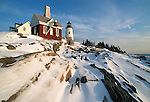 Winter view of Pemaquid Point Lighthouse, Bristol, Maine, USA