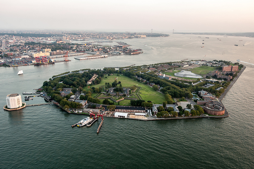 NEW YORK - AUGUST 2: Aerial view of Governors Island on  August 2, 2012 in New York. Located in Upper New York Bay between Manhattan and Brooklyn, Governors Island is home to historical fortifications, Fort Jay and Castle Williams.