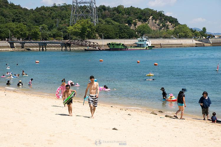 The beach at Okunoshima, aka Rabbit Island in Hiroshima Prefecture Japan.