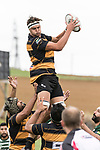 Daniel Stol takes uncontested lineout ball. Counties Manukau Premier Counties Power Club Rugby Round 4 game between Bombay and Manurewa, played at Bombay on Saturday March 31st 2018. <br /> Manurewa won the game 25 - 17 after trailing 15 - 17 at halftime.<br /> Bombay 17 - Ki Anufe, Chay Macwood tries, Tim Cossens, Ki Anufe conversions,  Ki Anufe penalty. <br /> Manurewa Kidd Contracting 25 - Peter White 2 , Willie Tuala 2 tries, James Faiva conversion,  James Faiva penalty.<br /> Photo by Richard Spranger.