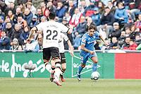 8th February 2020; Coliseum Alfonso Perez, Madrid, Spain; La Liga Football, Club Getafe Club de Futbol versus Valencia; Damian Suarez (Getafe CF)  breaks forward as Gomez of Valencia closes in