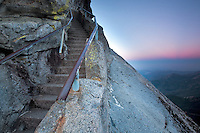 Sunrise over Moro Rock with stairs. Sequoia National Park, California