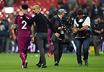 Kyle Walker of Manchester City and Manchester City Manager Josep Guardiola at the end of the premier league match at the Wembley Stadium, London. Picture date 14th April 2018. Picture credit should read: Robin Parker/Sportimage