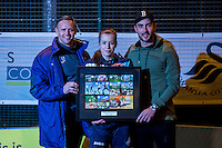 Wednesday 08 February 2017<br /> Pictured L-R: Lee Trundle, Katy Hosford and Mark Birighitti<br /> Re: Premier League Kicks event at Baglan Boys and girls Club, Port Talbot, Wales UK