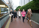 Andrea Furlong(LEFT), younger sister of Nicola Furlong, leaves the Tokyo court with unidentified friends and relatives following the first day of proceedings in the case of Richard Hinds, who is accused of murdering Nicola last May, in Tokyo, Japan on 04 March 2013. Photographer: Robert Gilhooly