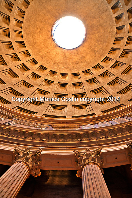 Looking up at the dome inside the Pantheon, the iconic template built between 118 and 125 AD