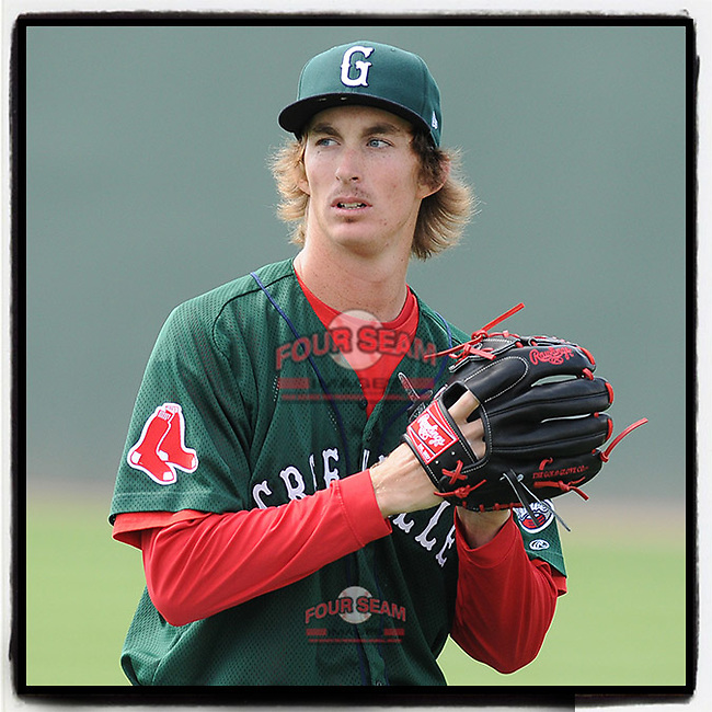 #OTD On This Day, June 2, 2012, starting pitcher Henry Owens (32) of of the Greenville Drive struck out five in five innings to earn the win at Fluor Field at the West End in Greenville, South Carolina. Owens pitched 16 games with Boston in 2015 and 2016. Arizona released him in 2019 and he then played for Kansas City T-Bones of the independent American Association. He is now with the Sugar Land Skeeters of the Atlantic League of Professional Baseball. (Tom Priddy/Four Seam Images) #MiLB #OnThisDay #MissingBaseball #nobaseball #stayathome #minorleagues #minorleaguebaseball #Baseball #SallyLeague #AloneTogether