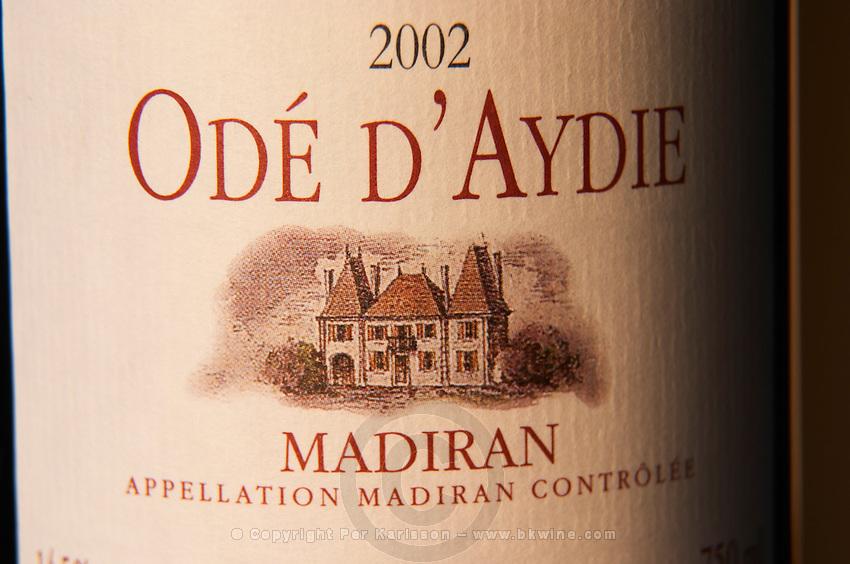 Bottle of Chateau d'Aydie cuvee Ode d'Aydie detail of label Madiran France