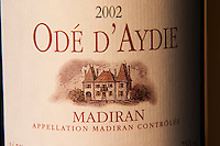 Bottle of Chateau d'Aydie cuvee Ode d'Aydie detail of label Madiran France
