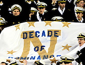 United States Navy Midshipmen celebrate their team's 10th consecutive victory over the U.S. Army Black Knights at FedEx Field in Landover, Maryland on Saturday, December 10, 2011.  This was the 112th meeting of the teams in this storied rivalry. Navy won the game 27 - 21..Credit: Ron Sachs / CNP