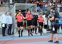 Match referee Mr Enrique Santander from Mexico leads out the two teams during France Under-18 vs Brazil Under-20, Tournoi Maurice Revello Football at Stade d'Honneur Marcel Roustan on 5th June 2019