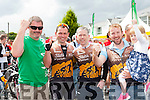 Castlemaine cyclists Brian Prendergast, Tommy Evans, Seamus O'mahony, Jonathan McCarthy, and Kayleigh McCarthy  celebrate finishing the Ring of Kerry cycle in Killarney on Saturday