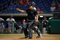 Umpire Jhonatan Biarreta signals fair ball during a Florida State League game between the Tampa Tarpons and Clearwater Threshers on April 18, 2019 at Spectrum Field in Clearwater, Florida.  Clearwater defeated Tampa 10-3.  (Mike Janes/Four Seam Images)