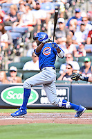 Chicago Cubs center fielder Dexter Fielder (24) swings at a pitch during a game against the Atlanta Braves at Turner Field on June 11, 2016 in Atlanta, Georgia. The Cubs defeated the Braves 8-2. (Tony Farlow/Four Seam Images)