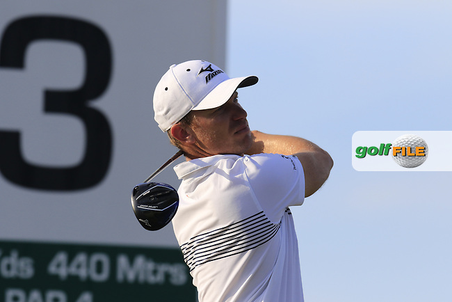 Magnus A CARLSSON (SWE) tees off the 3rd tee during Friday's Round 2 of the Portugal Masters 2015 held at the Oceanico Victoria Golf Course, Vilamoura Algarve, Portugal. 15-18th October 2015.<br /> Picture: Eoin Clarke | Golffile<br /> <br /> <br /> <br /> All photos usage must carry mandatory copyright credit (&copy; Golffile | Eoin Clarke)