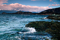 Seascape of the rocky shore of Beagle Channel in Tierra del Fuego National Park. Argentina.