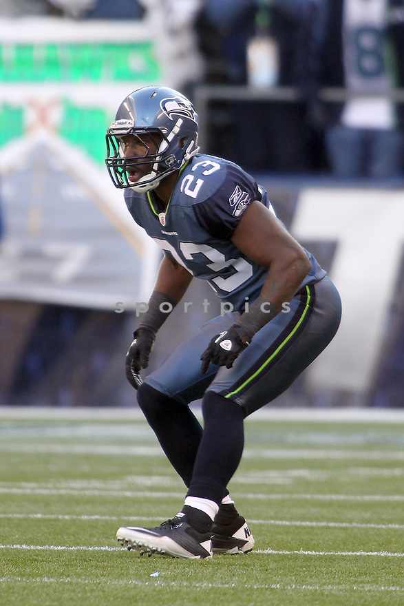 December 19, 2010:  Seattle Seahawks corner back #23 Marcus Trufant sets up on defense against Atlanta.  Atlanta defeated Seattle 34-18 at Quest Field in Seattle, WA.