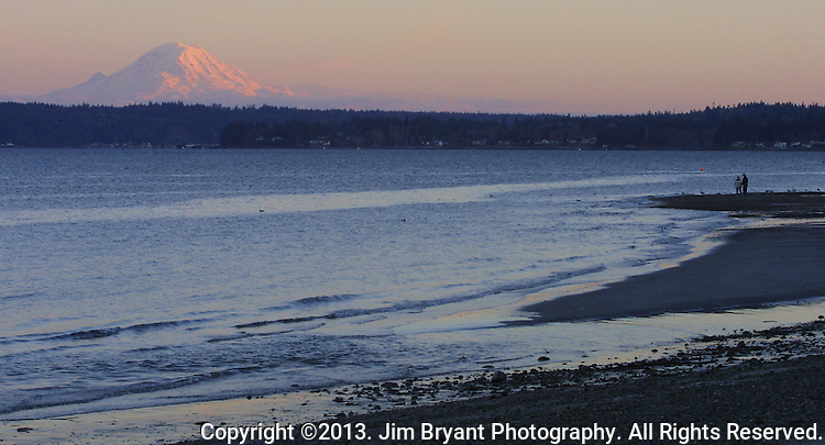 Beachcombers walks on Manchester Beach with Mt. Rainier at dusk. Rainier is a heavily glaciated, dormant volcano surrounded by alpine parks. The 14,411 foot volcano which covers 228,480 acres was designated a National Park in 1899. Washington. Jim Bryant Photo. ©2013. All Rights Reserved.