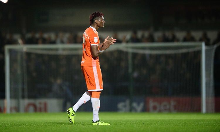 Blackpool's Armand Gnanduillet applauds the fans at the final whistle<br /> <br /> Photographer Chris Vaughan/CameraSport<br /> <br /> The EFL Sky Bet League One - Rochdale v Blackpool - Wednesday 26th December 2018 - Spotland Stadium - Rochdale<br /> <br /> World Copyright © 2018 CameraSport. All rights reserved. 43 Linden Ave. Countesthorpe. Leicester. England. LE8 5PG - Tel: +44 (0) 116 277 4147 - admin@camerasport.com - www.camerasport.com