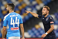 Ciro Immobile of SS Lazio gestures<br /> during the Serie A football match between SSC  Napoli and SS Lazio at stadio San Paolo in Naples ( Italy ), August 01st, 2020. Play resumes behind closed doors following the outbreak of the coronavirus disease. <br /> Photo Cesare Purini / Insidefoto
