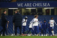 David Luiz trains on the pitch after the match with some other Chelsea players as the ground staff wait patiently to start work during Chelsea vs Arsenal, Caraboa Cup Football at Stamford Bridge on 10th January 2018