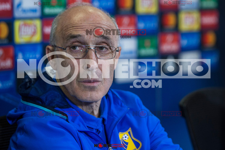 Rostov's Coach Ivan Daniliantz during the press conference before the match of UEFA Champions League between Atletico de Madrid and FC Rostov, at Vicente Calderon Stadium,  Madrid, Spain. October 31, 2016. (ALTERPHOTOS/Rodrigo Jimenez) /NORTEPHOTO.COM