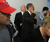 Arlington, VA - May 5, 2009 -- United States President Barack Obama and Vice President Joe Biden stand in line, waiting to order lunch at Ray's Hell Burger in Arlington, Virginia, on May 5, 2009..Credit: Roger L. Wollenberg - Pool via CNP