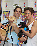 """Will Swenson & Nick Adams in """"Priscilla Queen of the Desert"""" - Broadway Barks Lucky 13th Annual Adopt-a-thon - A """"Pawpular"""" Star-studded dog and cat adopt-a-thon on July 9, 2011 in Shubert Alley, New York City, New York with Bernadette Peters and Mary Tyler Moore as hosts.  (Photo by Sue Coflin/Max Photos)"""