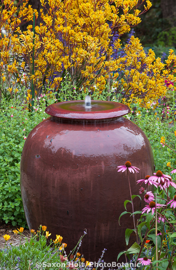 Urn water fountain in California garden bed with yellow flower Anigozanthos 'Harmony'
